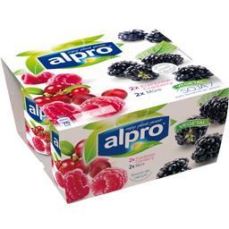 Alpro Dessert végétal soja framboise-Cranberry/mûre les 4 pots de 125 g