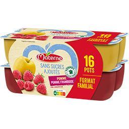 Materne Sans Sucres Ajoutés - Spécialité pomme, pomme-frambo... les 16 pots de 100 g - Format familial
