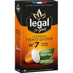 Ethical Coffee Company Legal Capsules de café moulu L'Espresso Tradizione n°7 la boite de 10 capsules - 50 g