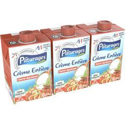 Pâturages Crème entière semi épaisse les 3 briques de 20 cl