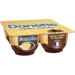 Danone Danone Danette - Crème dessert saveur vanille sur chocolat les 4 pots de 125 g