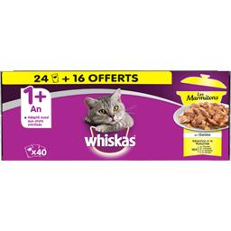 Whiskas Pâtée en gelée Les Marmitons volaille pour chat 1 + a... les 24 sachets de 85 g