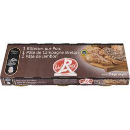 Mère Lalie Assortiment pâté de campagne/jambon & rillettes Labe... les 3 boites de 78 g