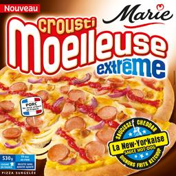 Crousti Moelleuses - Pizza la New-Yorkaise saucisse cheddar oignons frits ketchup