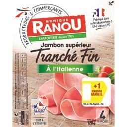 Monique Ranou Le tranché fin, jambon cuit supérieur à l'italienne le paquet de 4 tranches - 150 gr