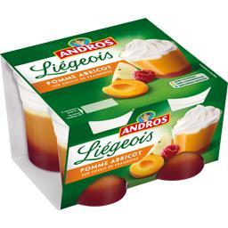 Liégeois pomme abricot sur coulis de framboise