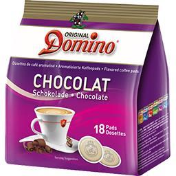 X 18 DOSETTES CAFÉ DOMINO AROMATISÉES CHOCOLAT
