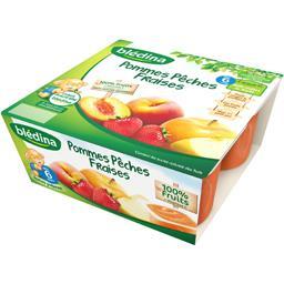Coupelles fruits pomme peche fraise,BLEDINA,le pack de 4x100 gr