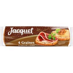 Jacquet Les Toasts aux 4 graines le paquet de 36 tranches - 250 g