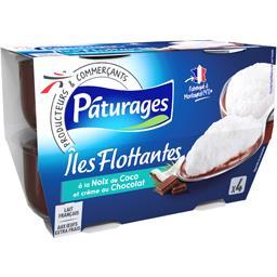 Pâturages Iles Flottantes noix de coco et crème au chocolat les 4 pots de 100 g