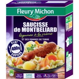 Saucisse de Montbéliard légumes à la crème pommes de terre