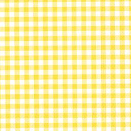 Serviettes 3 plis 33x33 cm jaune Vichy