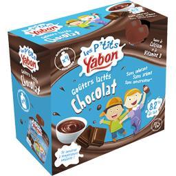 Les P'tits Yabon Goûters lactés chocolat les 4 gourdes de 85 g