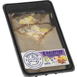 Galettes brouillade d'œufs, lardons, pommes de terre