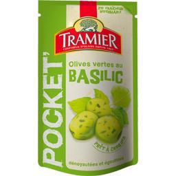 Olives vertes dénoyautées au basilic