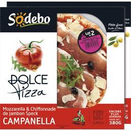 Sodebo Dolce Pizza - Pizza Campanella mozzarella & chiffonn... les 2 boites de 380 g