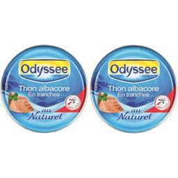 Odyssée Thon Albacore en tranches au naturel les 2 boites de 280 g net égoutté