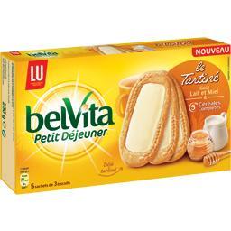 Belvita Petit Déjeuner - Le tartiné goût lait et miel 5 céréales complètes