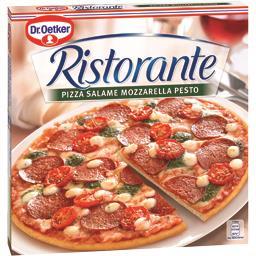 Ristorante - Pizza Salame mozzarella pesto