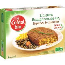 Galettes boulghour de riz, légumes et colombo BIO
