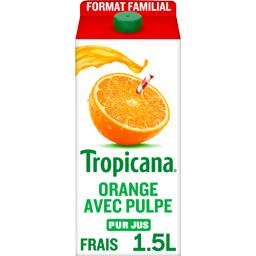 Jus d'orange avec pulpe 100% pur fruit pressé
