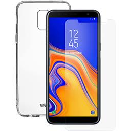 Pack Smartphone Galaxy J6+ noir coque TPU & verre tr...