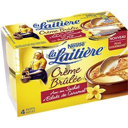 Crème brûlée avec son sachet d'éclats de caramel