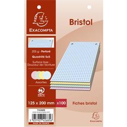 Fiches bristol couleur perforés 125x200 5x5 205 g