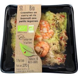 Crevettes au curry riz basmati aux petits légumes BI...