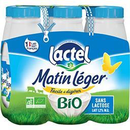 Lactel Lait Matin Léger BIO les 6 bouteilles de 50 cl