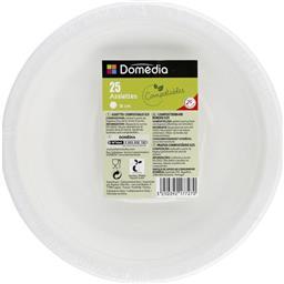 Assiettes en canne à sucre diam 18 cm 2 cm, blanc