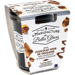 Crème glacée au chocolat noir de Tanzanie avec morceaux