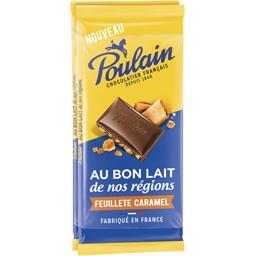 Poulain Chocolat au lait feuilleté caramel les 2 tablettes de 95 g