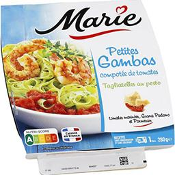 Petites gambas compotée de tomates tagliatelles au p...