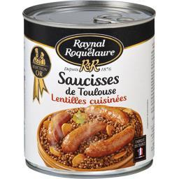 Saucisses de Toulouse lentilles cuisinées