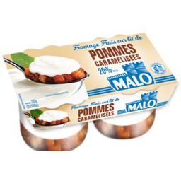 Fromage frais 20% MG sur lit de pommes caramélisées