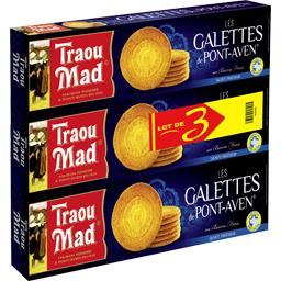Traou Mad de Pont-Aven Les Galettes de Pont Aven au beurre frais les 3 boites de 130 g