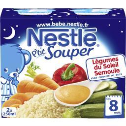 P'tit Souper - Soupe du soir légumes du soleil semoule, 8+ mois