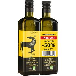 Terra Delyssa Huile d'olive BIO les 2 bouteilles de 750 ml