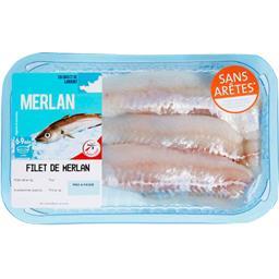 La mer est notre culture Filet de MERLAN sans arrête la barquette de 500 Gr