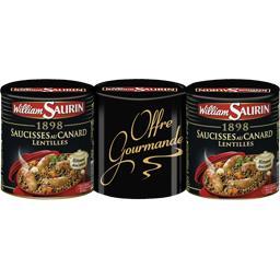 William Saurin 1898 - Saucisses au canard lentilles les 3 boites de 840 g