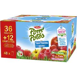 Materne Pom'Potes - Spécialité de pomme/pomme fraise/pomme f... les 36 gourdes de 90 g