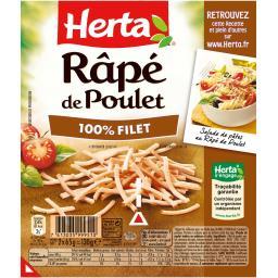 Herta Râpé de poulet 100% filet les 2 barquettes de 65 g