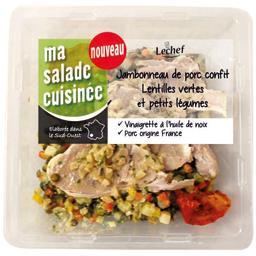 Jambonneau de porc confit lentilles vertes et petits légumes