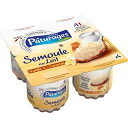 Semoule au lait vanille sur lit de caramel