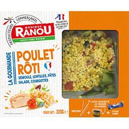 Salade La Gourmande poulet rôti semoule lentilles
