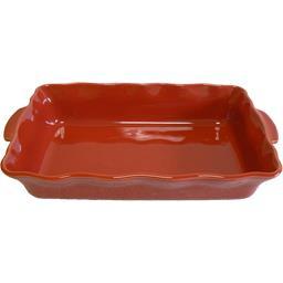 Plat rectangle festonné 36 cm rouge