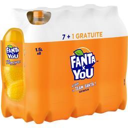 Fanta Boisson gazeuse Fanta X You au jus d'orange les 7 bouteilles de 1,5 l