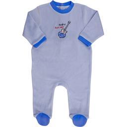 Dors-bien en velours brodé garçon 12 mois bleu