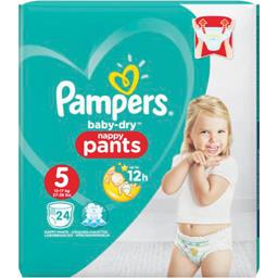Pampers Couches culottes Baby Dry taille 5 : 12-18 kg le paquet de 24 couches